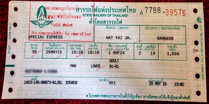 Thailand Train Ticket Online Booking