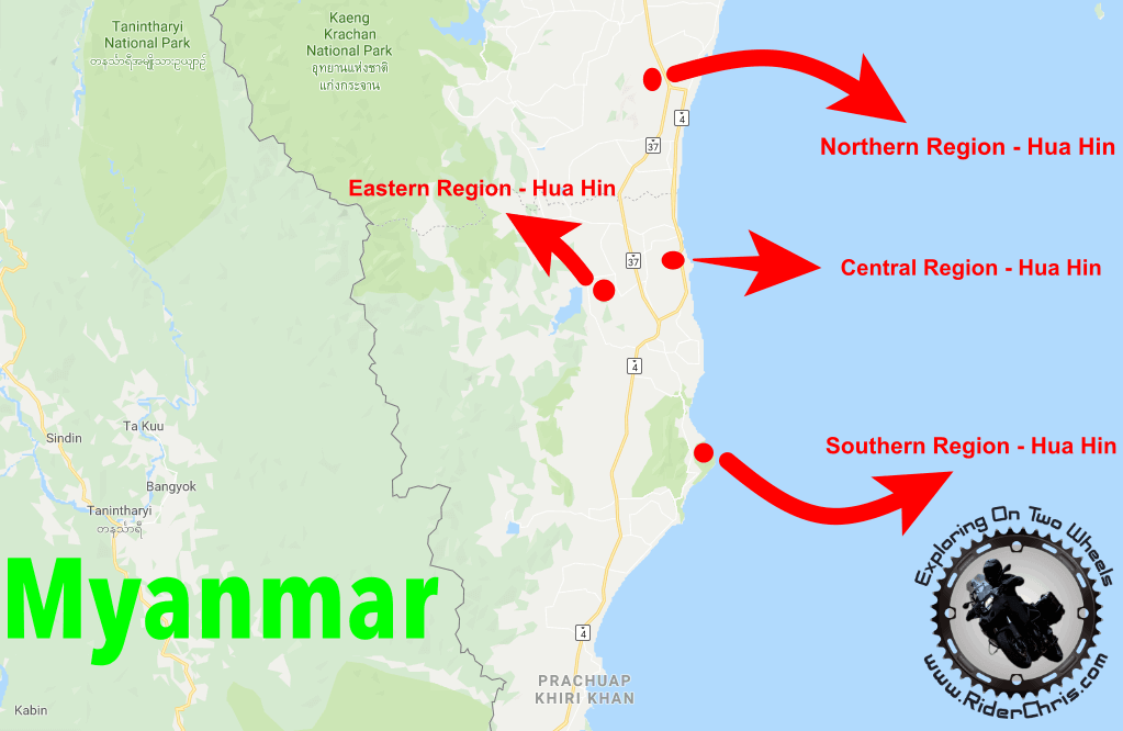hua hin attractions region map